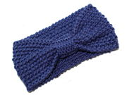 Blue Knotted Bow Winter Knitted Headband
