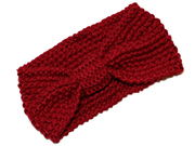 Dark Red Knotted Bow Winter Knitted Headband