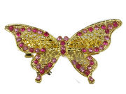 Pink Gilt Butterfly Hair Barrette Clip