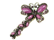 Antique Gilt Butterfly Hair Barrette Clip