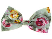 Sage Green Floral Bow  Barrette Hair Clip