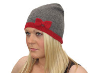 Winter Ultra Soft Bow Bella Beanie Hat - Grey