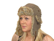 Womens Winter Heather Trapper Hat - Brown