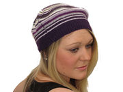 Winter Ultra Soft Striped Kelly Beret - Purple