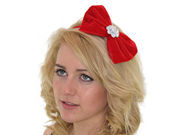 Red Crystal Velvet Bow Fascinator Band