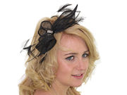 Black Crystal Looped Fascinator Band