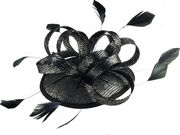 Black/Silver Looped Sinamay Fascinator