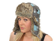 Weeton Patch Check Trapper Hat - Blue