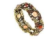 Antique Gilt Jewel And Flower  Cuff Bangle - Brown