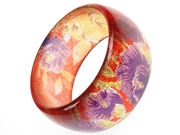 Glitter Flower Orange Bangle