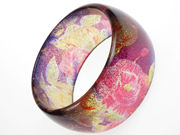 Glitter Flower Purple Bangle