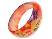Resin Orange Flower Bangle