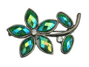 Green Glitter Flower Brooch