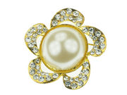 Gilt Large Pearl Daisy Brooch