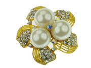 Gilt Triple Pearl Flower Brooch
