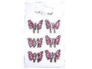 Pink Glitter Butterfly Claw Clips