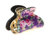 4cm Purple Ditsy Floral Acrylic Hair Clamp Clip