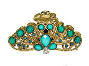 Turquoise Vintage Gold Claw Clamp