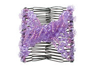 Purple Flower Bead Double Hair Comb