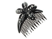 Black Flower Side Comb