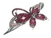 Purple Crystal Butterfly Hair Clip