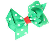 Green Polka Dot Christmas Bow Hair Clip