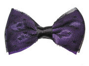 Purple Netted Bow Hair Clamp Clip