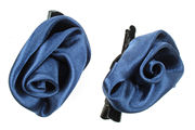 Mini Navy Blue Satin Rosette Hair Clamp Clips