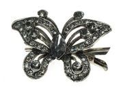 Charcoal Crystal Butterfly Hair Clamp Clip