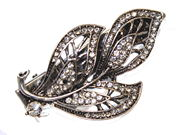 Vintage Crystal Leaf Hair Clip Clamp