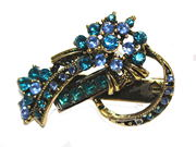 Blue Vintage Gilt Flower Mini Hair Clip Clamp