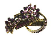 Purple Vintage Gilt Flower Mini Hair Clip Clamp