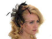 Black Looped Bow and Feather Fascinator