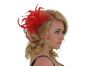Red Organza Fascinator