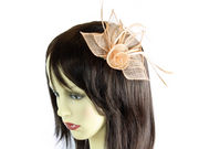Peach Coiled Flower Fascinator Clip