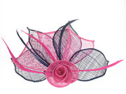 Cerise/Navy Flower Fascinator Clip