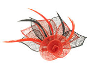 Red/Black Flower Fascinator Clip