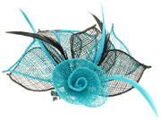 Turquoise/Black Flower Fascinator Clip