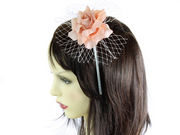 Peach Rose Flower Net Fascinator Headband