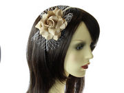 Light Brown Rose Flower Net Fascinator Headband