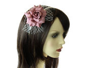Mulberry Rose Flower Net Fascinator Headband