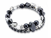Fiorelli Black Double Row Multi Bead Bracelet