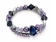 Fiorelli Purple Double Row Multi Bead Bracelet