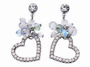 Crystal Cluster Heart Drop Earrings