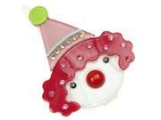 Clown Resin Hair Clip - Cerise