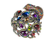 Rainbow Crystal Peacock Cuff Bangle