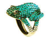 Aqua Crystal Frog Cuff Bangle