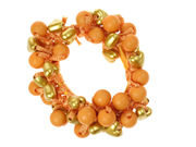 Orange Round Heart Bead Scrunchie
