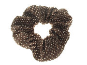 Brown Crinkle Dot Scrunchie