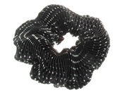 Black Crinkle Dot Scrunchie